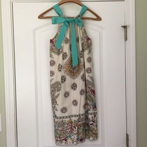 Silk Paisley Dress w/ Teal Bow in Back